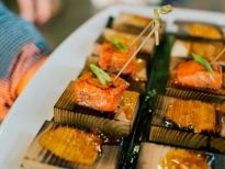 Mini Cedar Planked Salmon with Cider Molasses Glaze